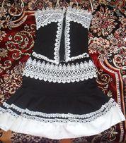 Черно-белый праздничный выпускной костюм (платье)
