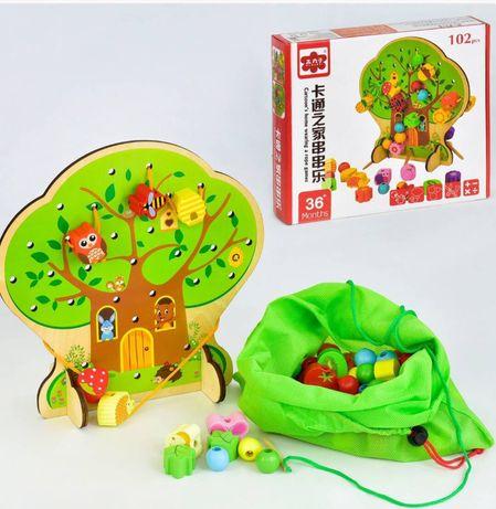 Шнуровка, деревянная развивающая игрушка Запорожье - изображение 2