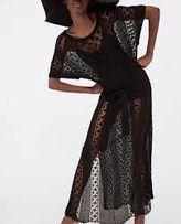 ZARA tunika sukienka dziergana czarna plazowa długa maxi splot plażowa