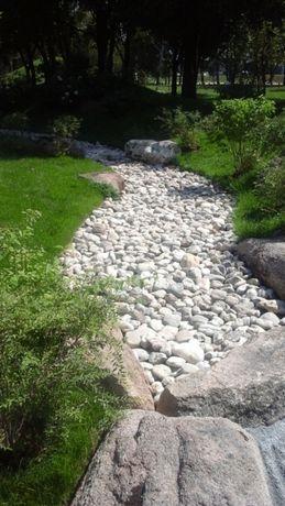Мрамор белый речной для ландшафтного дизайна и габионов