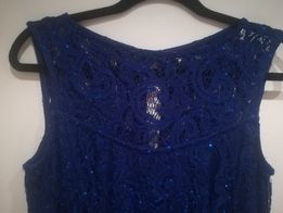 Koronkowa sukienka niebieska długa
