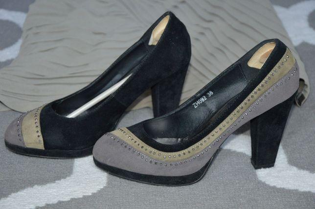 Buty damskie na grubym korku zamszowe z cekinami szary czarny zieleń Oborniki - image 1