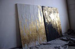 Комплект интерьерных дизайнерских картин золото эксклюзив