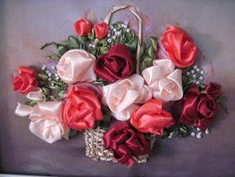 Картина атласными лентами Розы в корзине