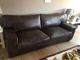 Wetherly type 3 seater brown leather couch.