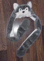 Теплая меховая шапка с шарфом и варежками. От 8 до 15 лет
