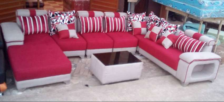 U-shaped sectional sofa couches with glass centre table. Red 0