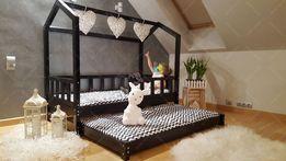 Łóżko domek drewniane z dodatkowym łóżkiem w stylu skandynawskim BELLA