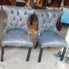 New grey dining chairs with buttons