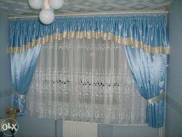 NOWA narzuta, dwie poduszki, firana, błękitne zasłony + 2 podwiązki