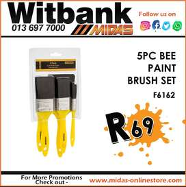 5PC Bee Paint Brush Set ONLY R69 at Midas Witbank!