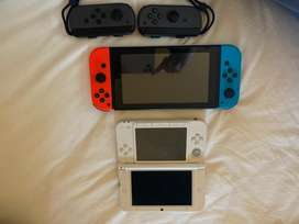 Nintendo Switch + 3DS XL + extra Joycons + games & carry pouch