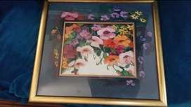 Hand painted frame flower portray