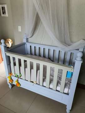 Solid wood cot and changing station