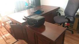 Executive desk. Dark wood with filing space.