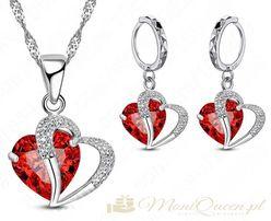 WALENTYNKI czerwone srebrne serce - zestaw prezent