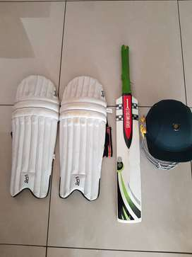 Cricket Bat, Pads and Helmet