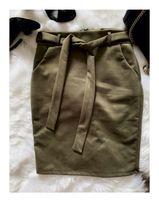 Ołówkowa spódnica z wyższym stanem Khaki Wiązana w pasie S M L XL