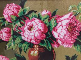 Картина Вишита нитками Піони handmade