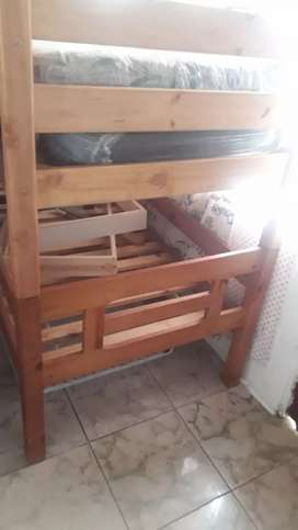 Double timber bunk bed