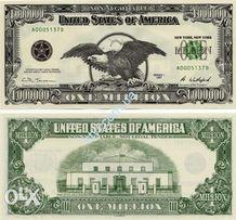 Купюра один мільйон доларів 1000000 $ США 1 млн банкнота подарунок Нов