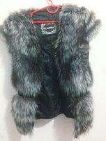 Продам кожаную жилетку с натуральным мехом чернобурки