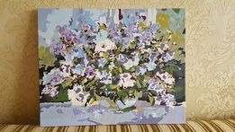 Картина акрил, картина Цветы на окне