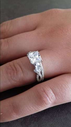 SOLID STERLING SILVER  1.90 Carat Princess Cut Pear Accents Wedding Se