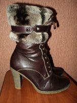 Сапоги зимние женские кожаные
