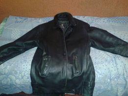 Кожаная зимняя мужская куртка с подстежкой