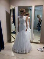 suknia ślubna rybka 164 +obcas Sposabella koronka biel