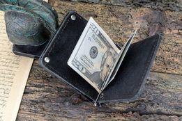 Кожаный зажим для денег mod.Stayer черный цвет кошелек с монетницей