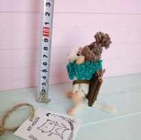Мышь, мышка турист, валяная игрушка из шерсти, миниатюра, фелтинг,мини