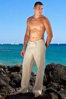 Мужские брюки лен большой размер на веревке или резинке