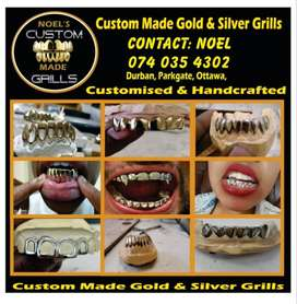 Custom made gold and silver grills