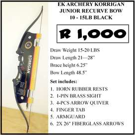 NEW KORRIGAN JUNIOR RECURVE BOW BLACK 10-15LB