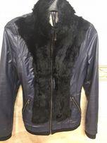 Куртка кожанка женская кожаный пиджак синяя мех кролика
