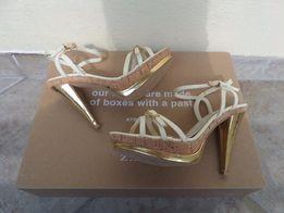 MADE IN ITALY sandałki sandały na złotej szpilce i platformie 38 39