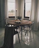 Okrągły stół ze starego drewna loft design retro vintage industrial