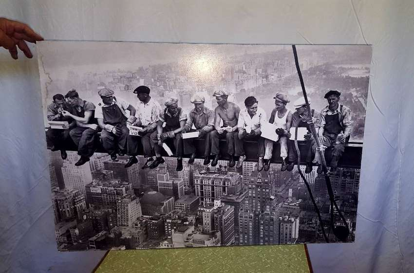 Poster on Wood - On Top of Empire states building 0
