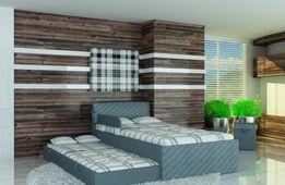 Piętrowe łóżko dla dzieci i młodzieży, pikowane, eko skóra
