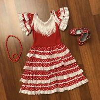 Нарядное испанское платье и туфли «Фламенко» для девочки