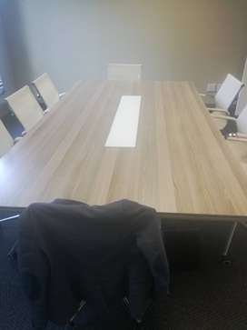 Boardroom table and chairs, 4 years