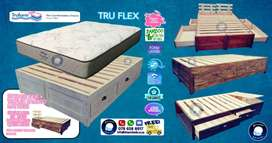 Wood BED with DRAWERS On PROMO4750