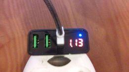 Зарядное устройство USAMS на 3 USB порта 3A с цифровым дисплеем