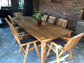 Amazing 3 meter x 1.15 meter solid wood table with ten chairs