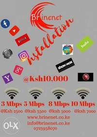 Internet connection within Thika, and one free month usage. 0