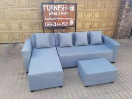 Suede L-Shape couch R3000