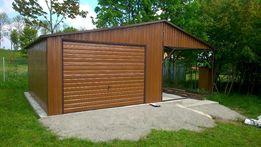 garaże blaszane 4 x 6 +wiatka 2 x 6, struktura drewna- orzech, profil,
