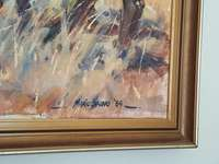 """Image of Mario Bruno's """"The Contest"""" Oil on Canvas"""